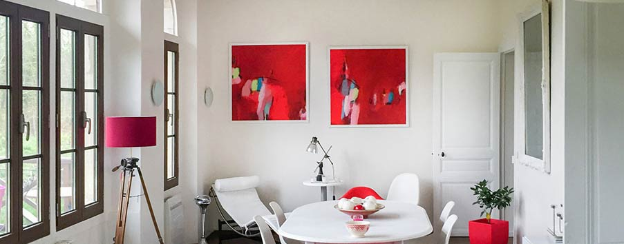 Huge red Abstract Art