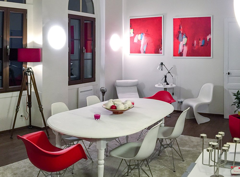 Huge red abstract art Interior design red abstract painting