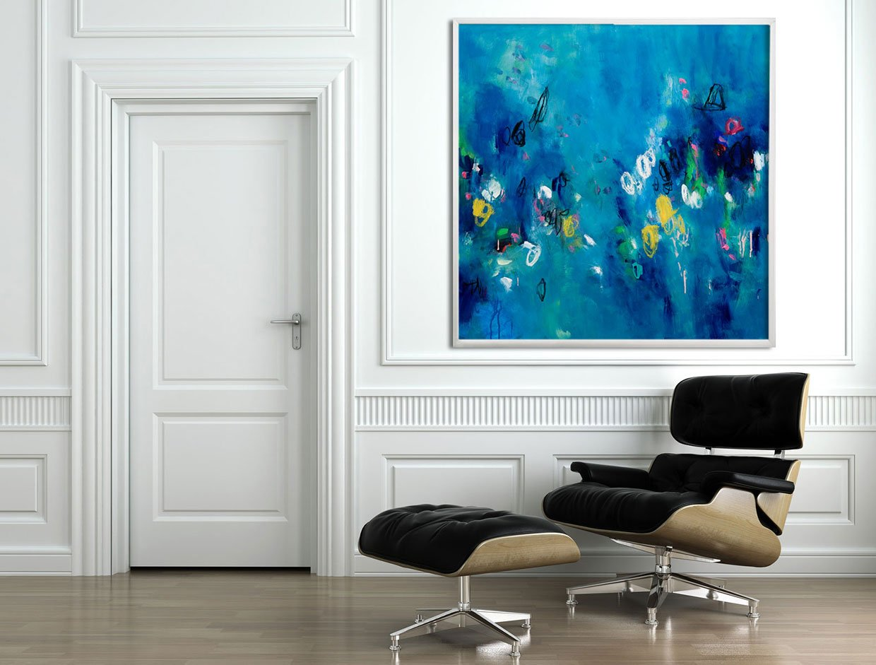 Duealberi Large Abstract Art, ready to hang