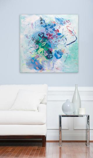 Large Wall Art, Floral ABSTRACT Painting 32×32 Living Room Decor Blue Mint  Green Canvas Art By DUEALBERI Rome U2013 DUEALBERI Absract Art U2013 Large Prints  ... Part 41