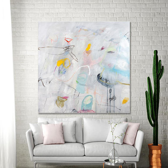White Abstract Painting 36 215 36 Inches Playfulness 04