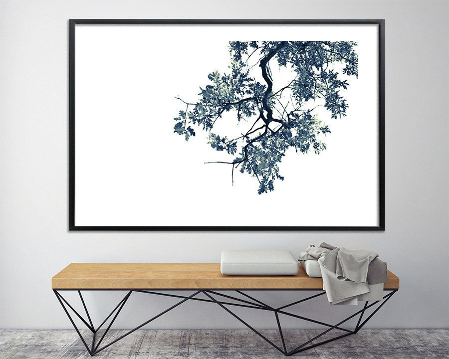 Modern oak tree print black and white above bed wall art - Wall art above bed ...