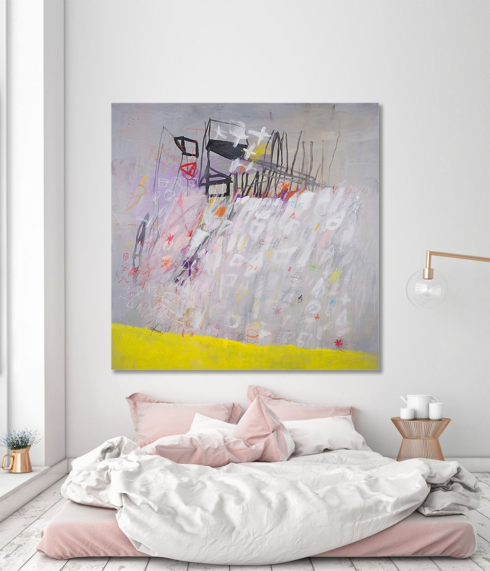 Abstract painting original large canvas art modern urban painting grey and yellow ultraviolet wall art 40x40 resetting 01 by duealberi