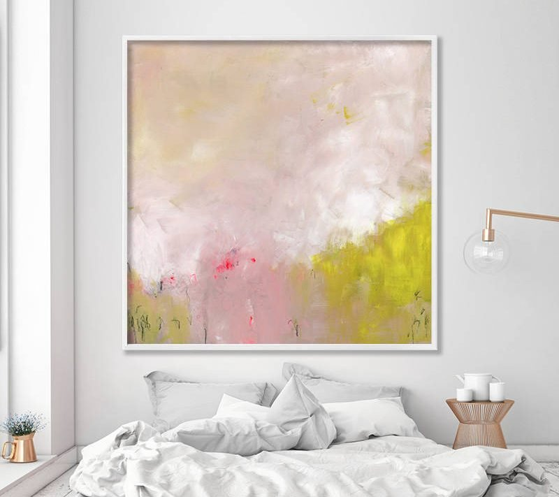 "GICLEE print, abstract painting up to 40x40"", extra large wall art, Abstract Art, canvas art, yellow and pink"