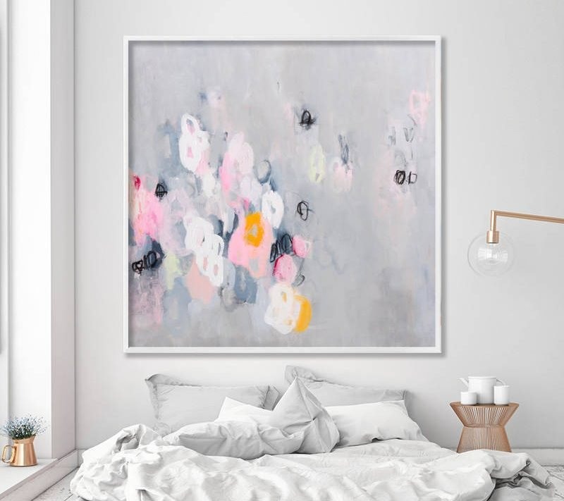 Abstract painting, abstract art, abstract art print, modern wall art, large canvas art, canvas above bed decor, couch decor, pink grey art