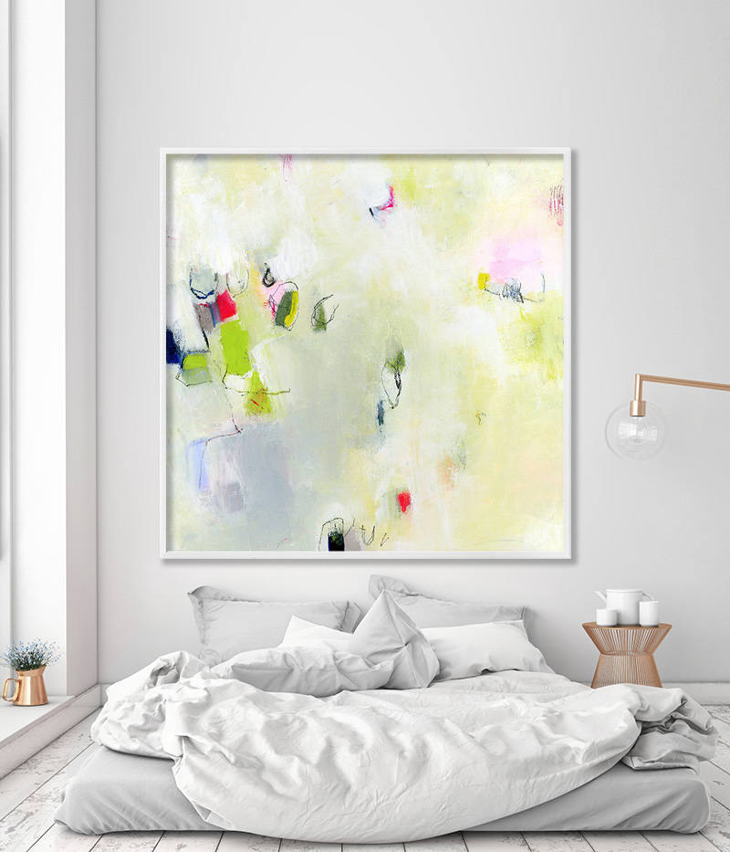 Large Wall Art Of Abstract Painting Giclee Print In Light Green And Grey Fresh Modern Canvas Art By Duealberi