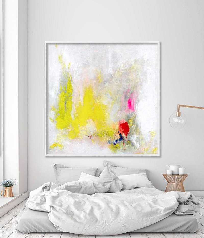 Large wall art Giclee Print painting yellow white print up to 40×40 ...