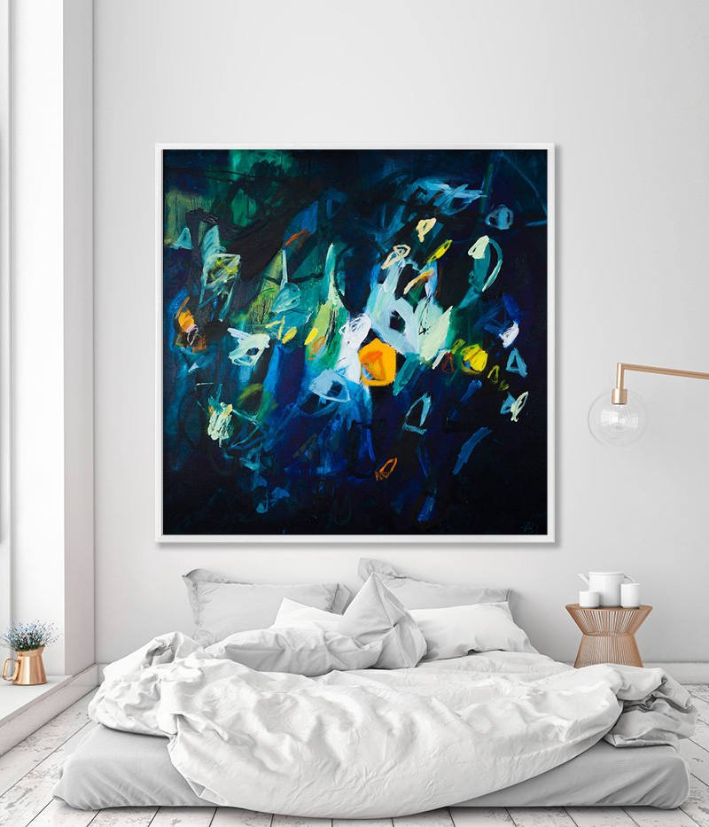 Large Wall Art Abstract Painting Print Large Giclee Print Indigo