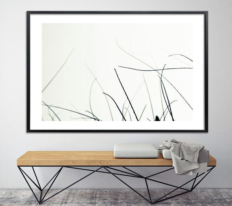 Botanical print, Wall art prints. black and white Modern poster. Large canvas art