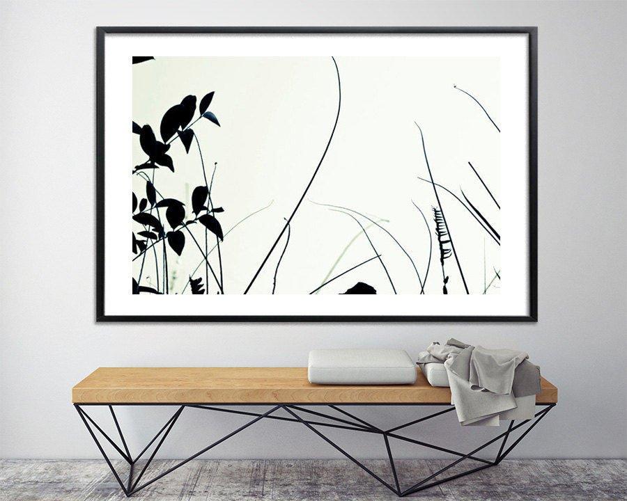 Botanical print Wall art prints black and white Modern poster Large ...
