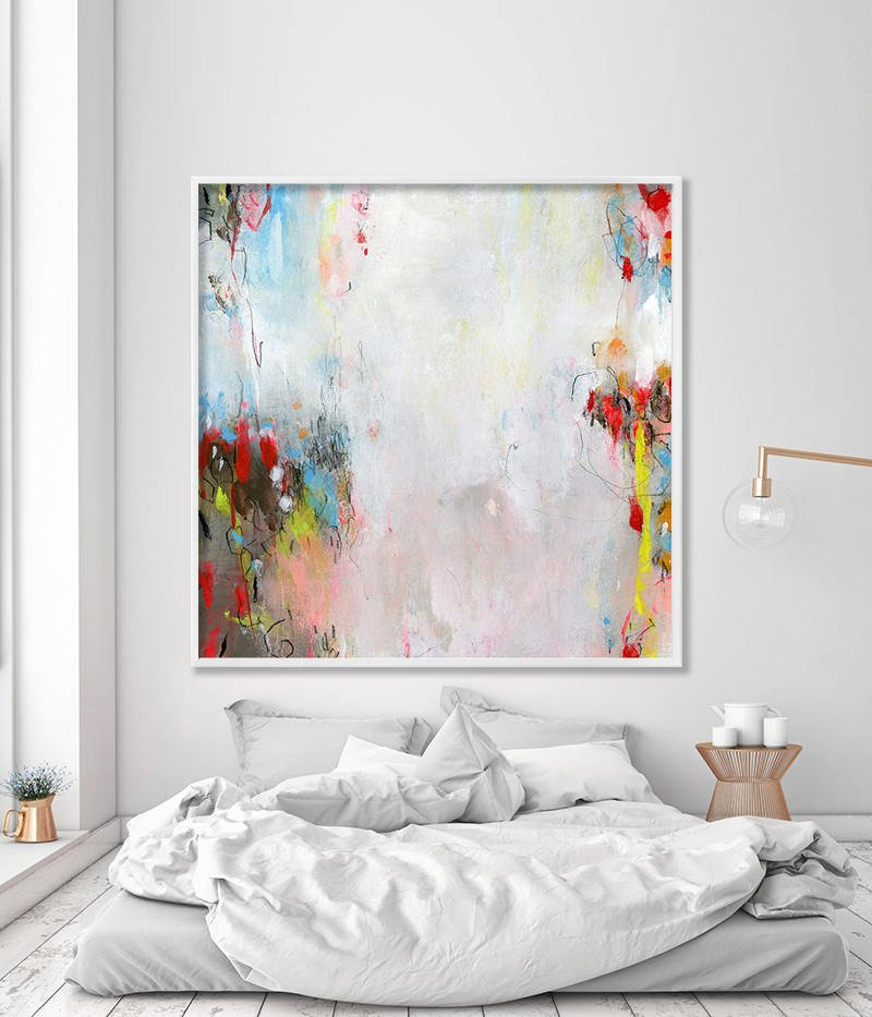 Large art print of Abstract floral painting in WHITE aqua and red ...