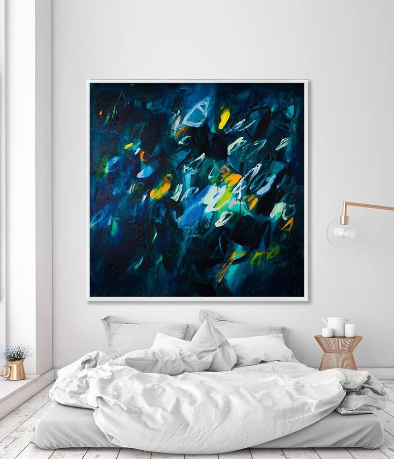 Sold Original Abstract Painting Pearl White Blue Wall Art: Large Wall Art Abstract Painting Print Indigo Wall Art