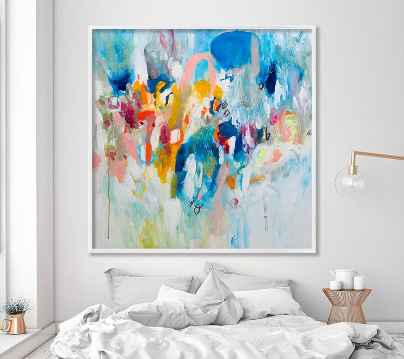 Colorful Abstract Painting Print, feminine abstract art, large grey modern painting by DUEALBERI