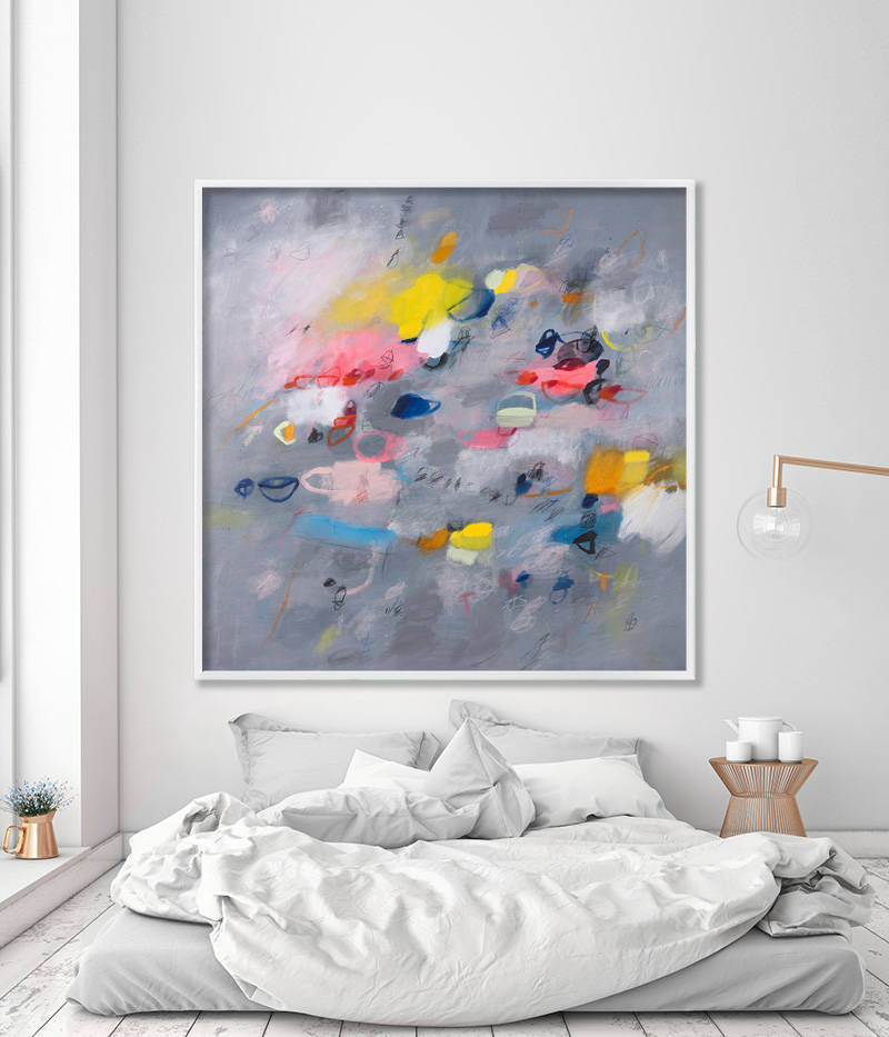"""Large Abstract Print of Painting on Canvas or paper grey art with pink  yellow up to 40x40"""" modern painting - Abstract Paintings - Large wall Art -  Prints for home and office decor"""