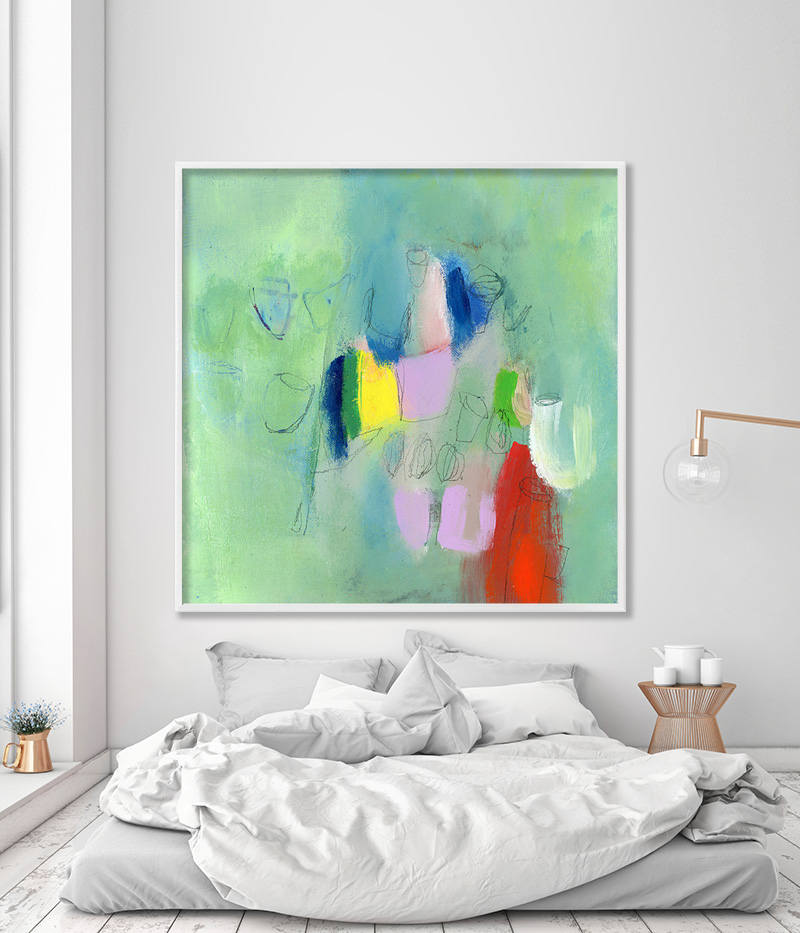 Extra Large Wall Art Colorful Giclee Art Print Of Abstract Painting Paris Green Art Modern Canvas Art Up To 40x40 By Duealberi