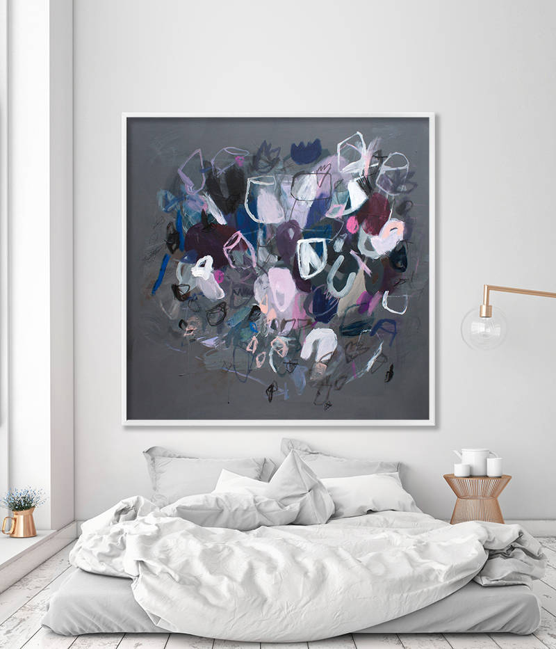Large floral abstract print grey art dark gray with pink flowers large floral abstract print grey art mightylinksfo
