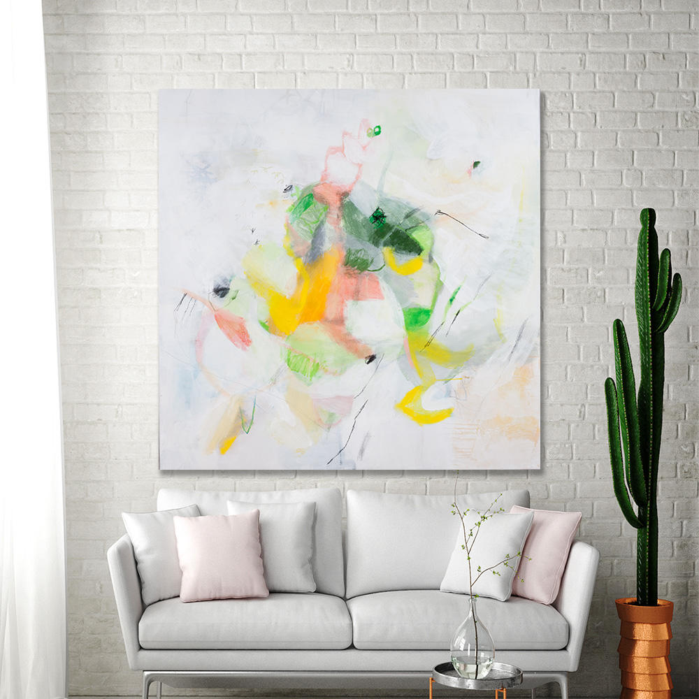 Abstract Painting Large Wall Art Canvas Art White Painting With Yellow Green 36x36 Original Painting Fun By Duealberi