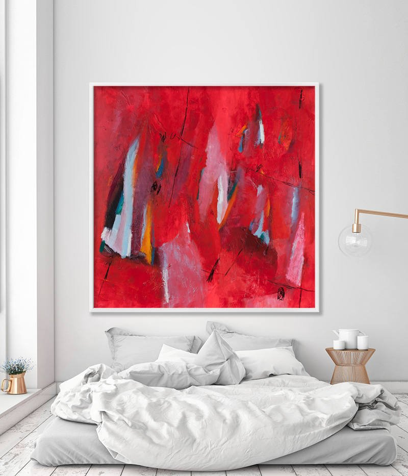 Large Wall Art Bold Red ABSTRACT Print on Canvas art Abstract Art ...