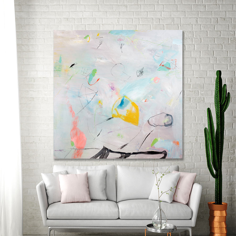 Abstract Painting Large Canvas Art Dusty Pink With Green 3636