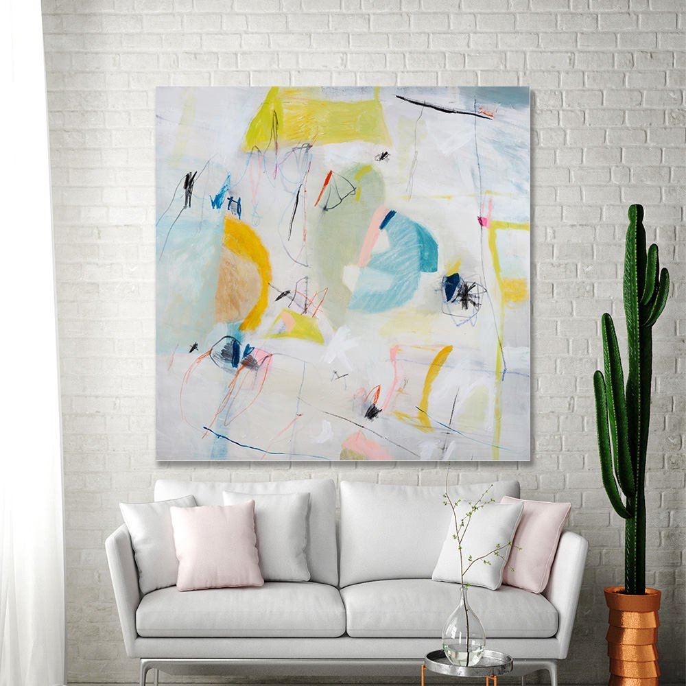 Large abstract painting original canvas art white painting with yellow green teal colorful modern wall art 36x36 by duealberi