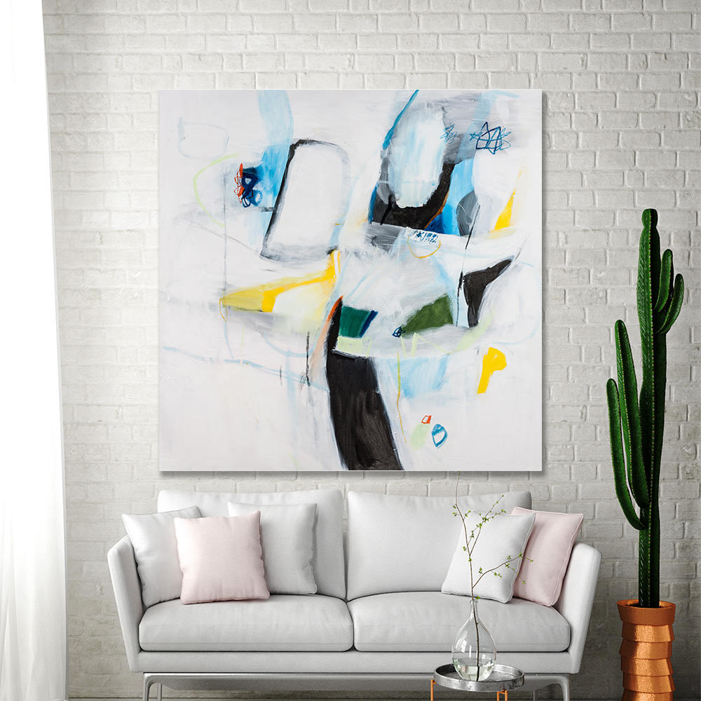ABSTRACT PAINTING Original Large canvas art White painting with blue ...