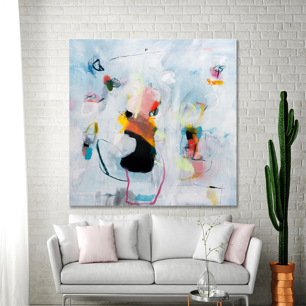 ABSTRACT PAINTING Extra large wall art white living room abstract ...