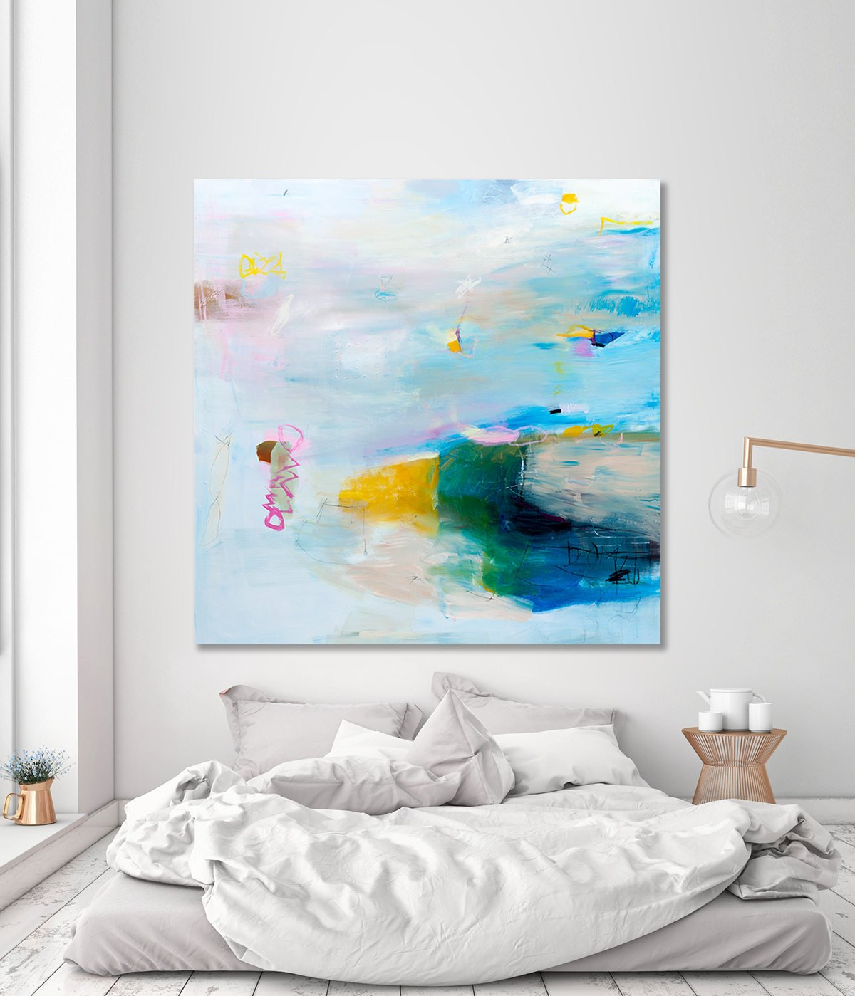 Large Abstract Painting Extra Large Wall Art Canvas Seascape Painting 48x48 Teal Painting Modern Wall Art Coastal Wall Art Duealberi