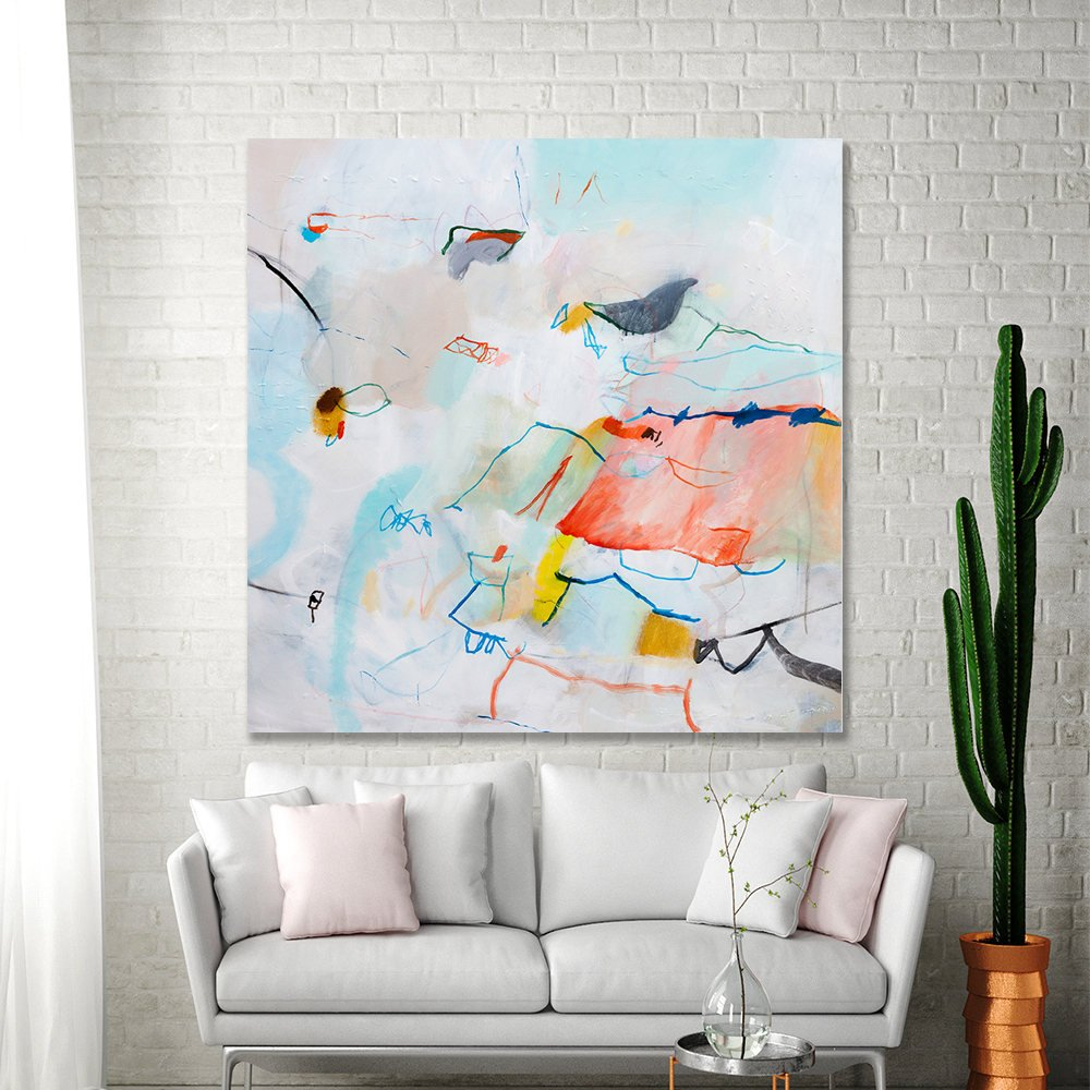Large abstract painting multicolor colorful modern art large wall art 36x36 aqua coral pink fun bird canvas art by duealberi