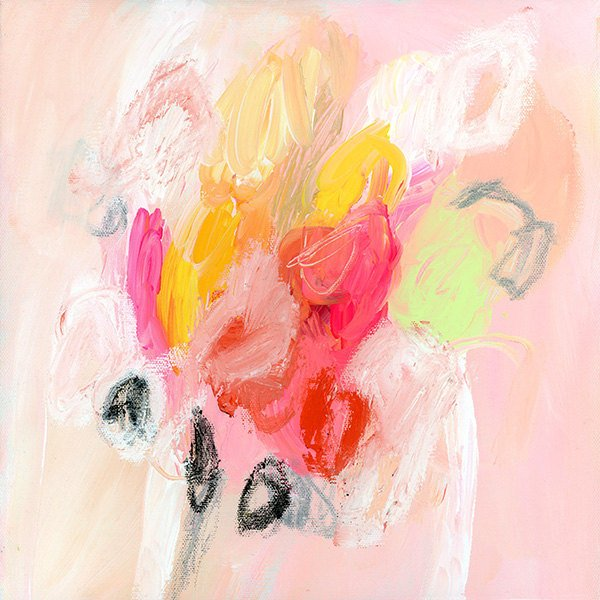 pink abstract painting giclee print large art floral painting white