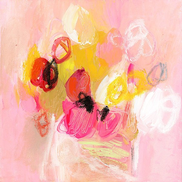 abstract floral painting print tulips for lunch 4 large wall art