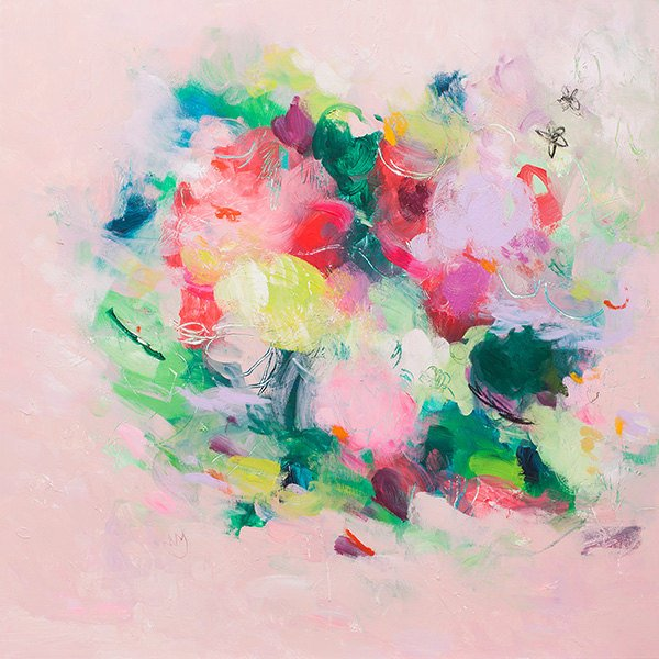 Abstract Fl Print From Painting Pink