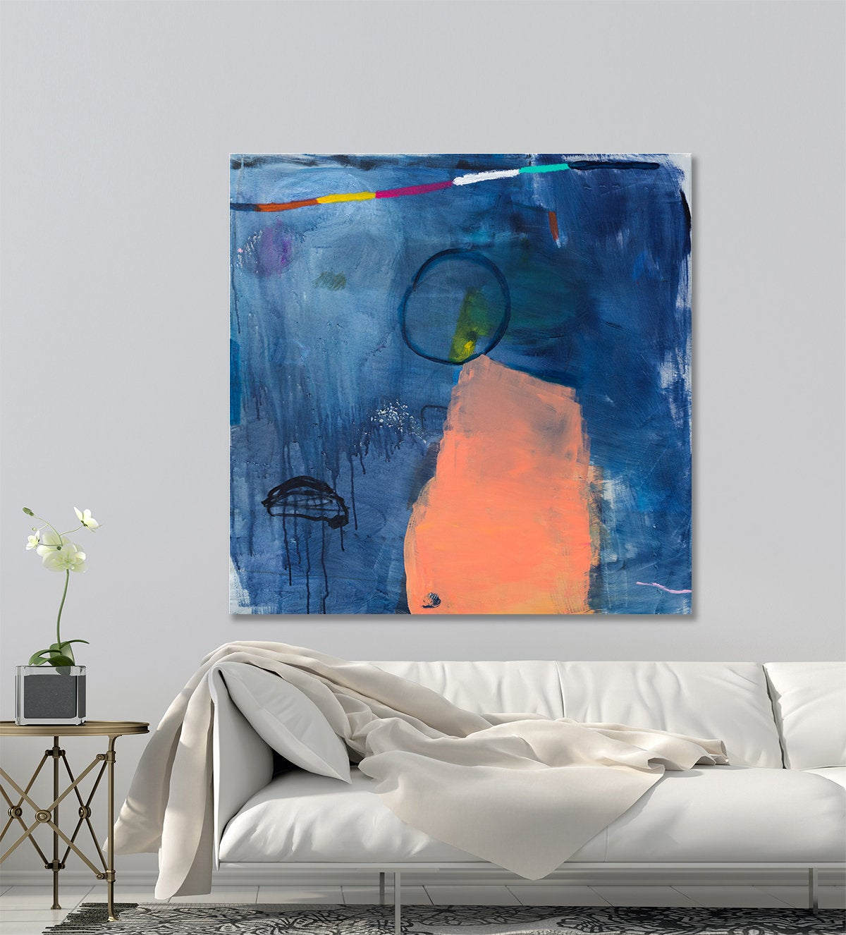 Indigo Blue Wall Art.Abstract Painting Original Canvas Painting Indigo Blue Contemporary Art Bedroom Wall Art By Duealberi