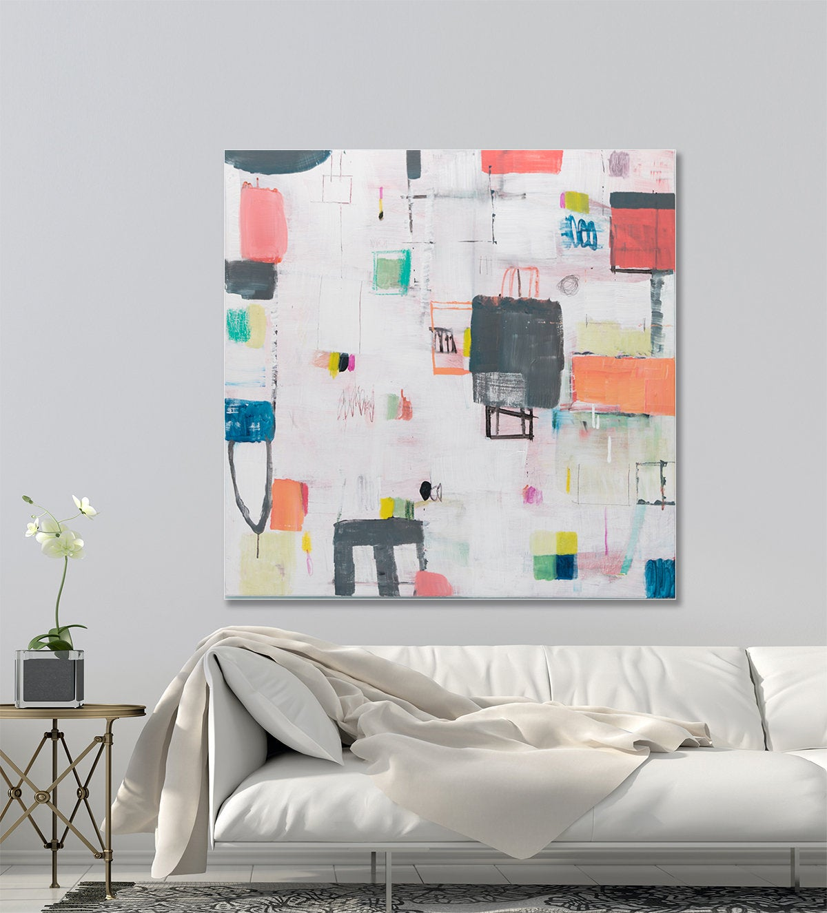Abstract Painting Original Canvas Painting Colorful Contemporary Art Living Room Wall Art